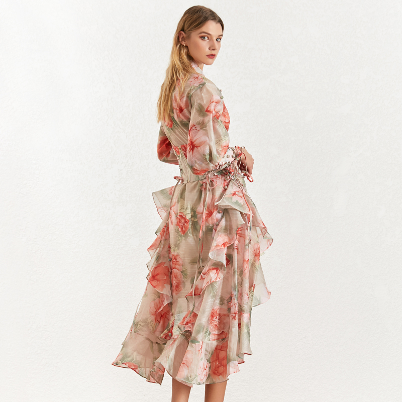 Image 5 - TWOTINSTYLE Vintage Print Women's Dress Stand Collar Lantern Sleeves Bandages High Waist Asymmetrical Print Dresses Female 2019-in Dresses from Women's Clothing