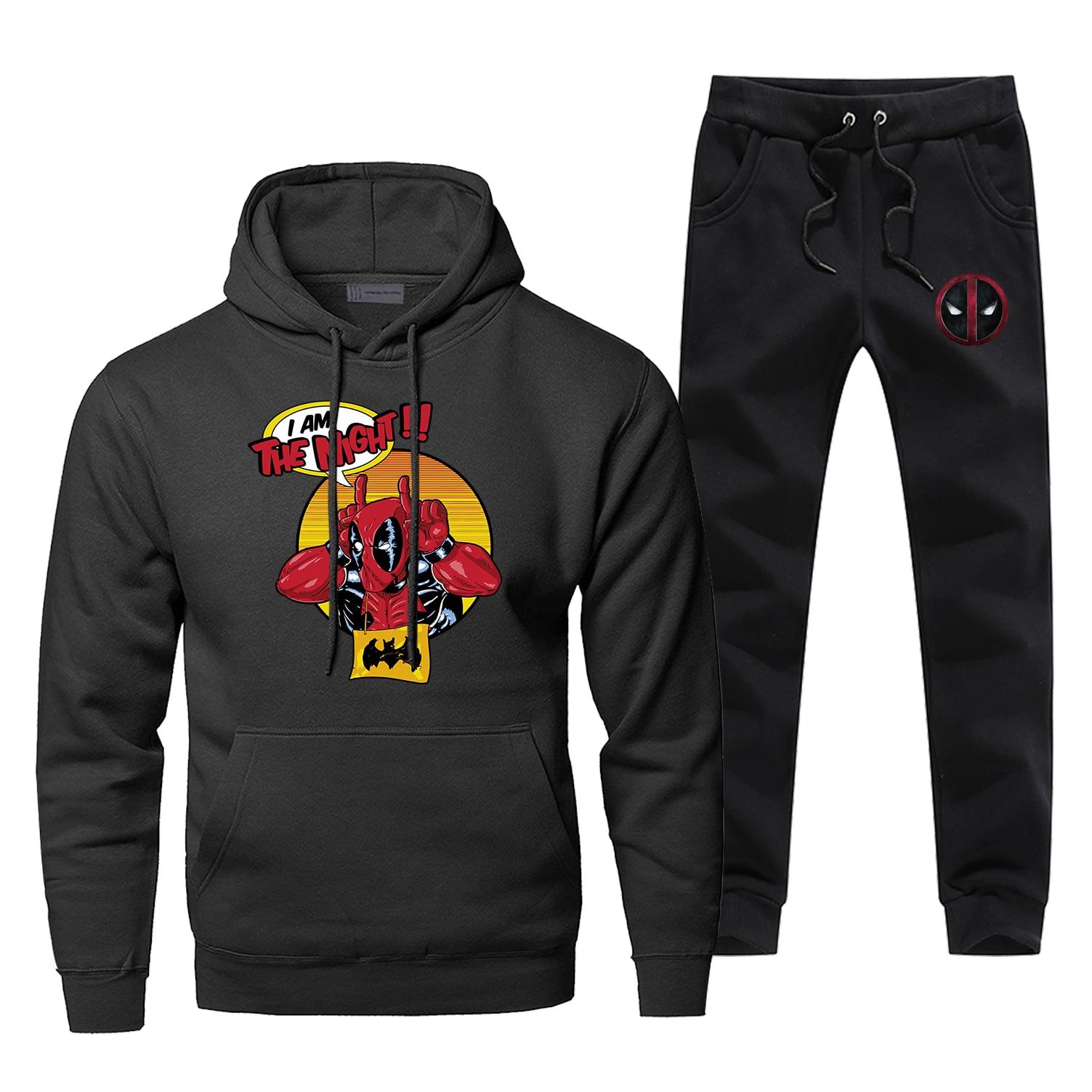 Men's Full Suit Funny Deadpool Superhero Hoodies Fashion Bodywarmer Sweatshirtpants Fleece Casual 2 Piece Set Tracksuit
