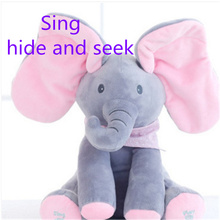30cm elephant electric toy ears move music baby animal hide and seek cat soothing doll elephant Dog Rabbit plush toy fluffy toy hidden cat hide and seek game baby animated stuffed elephant dolls m15