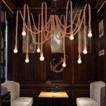 Lámpara colgante de cuerda de cáñamo para Loft, lámpara de araña de red Vintage, colgante de techo, lámpara creativa para Bar, DIY, luces de hadas para cafetería, Alambre Tejido