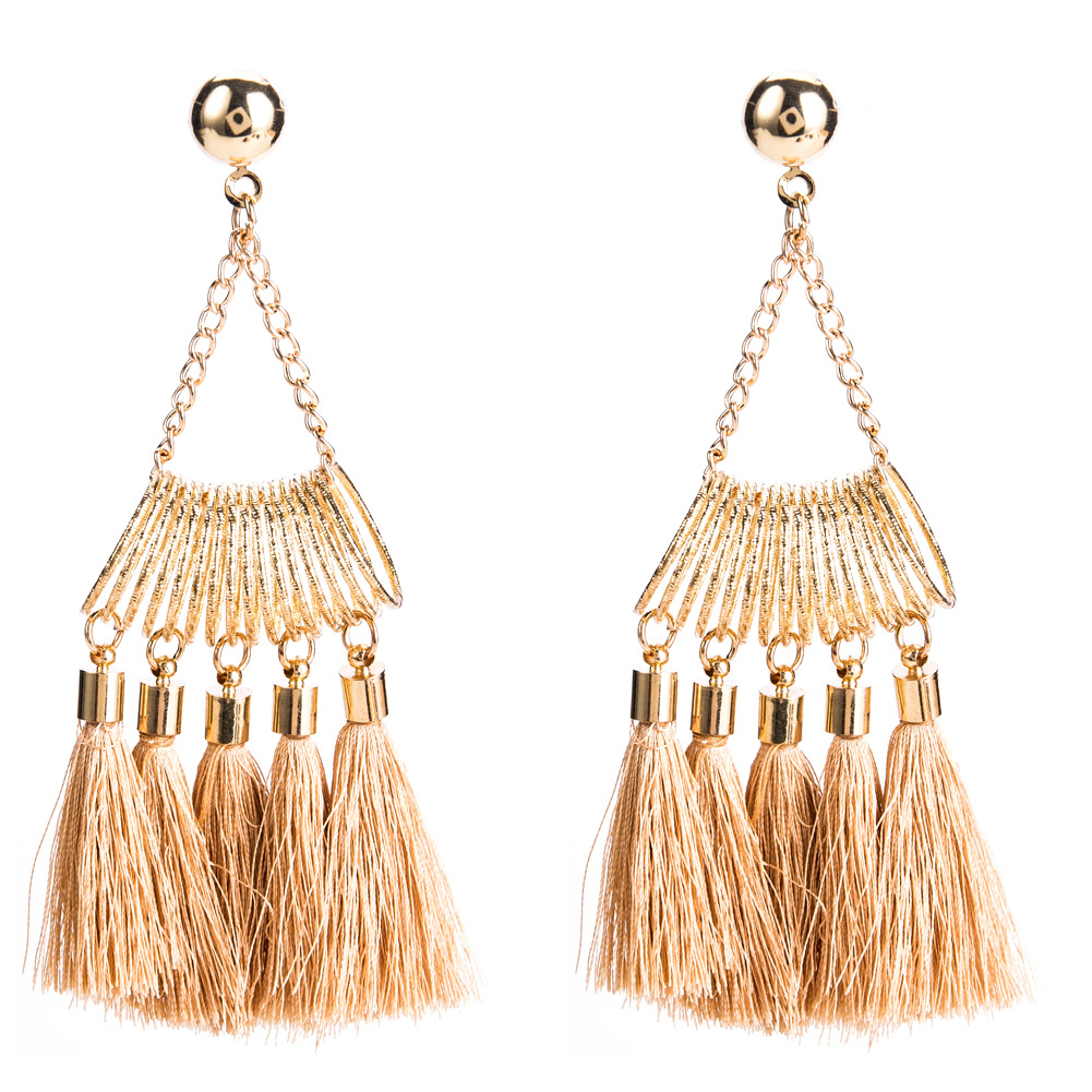 2019 Hyperbole Brand Design Gold Color Alloy Metal Spring Tassel Geometric Statement Boho Earrings For Women Fashion Jewelry in Drop Earrings from Jewelry Accessories