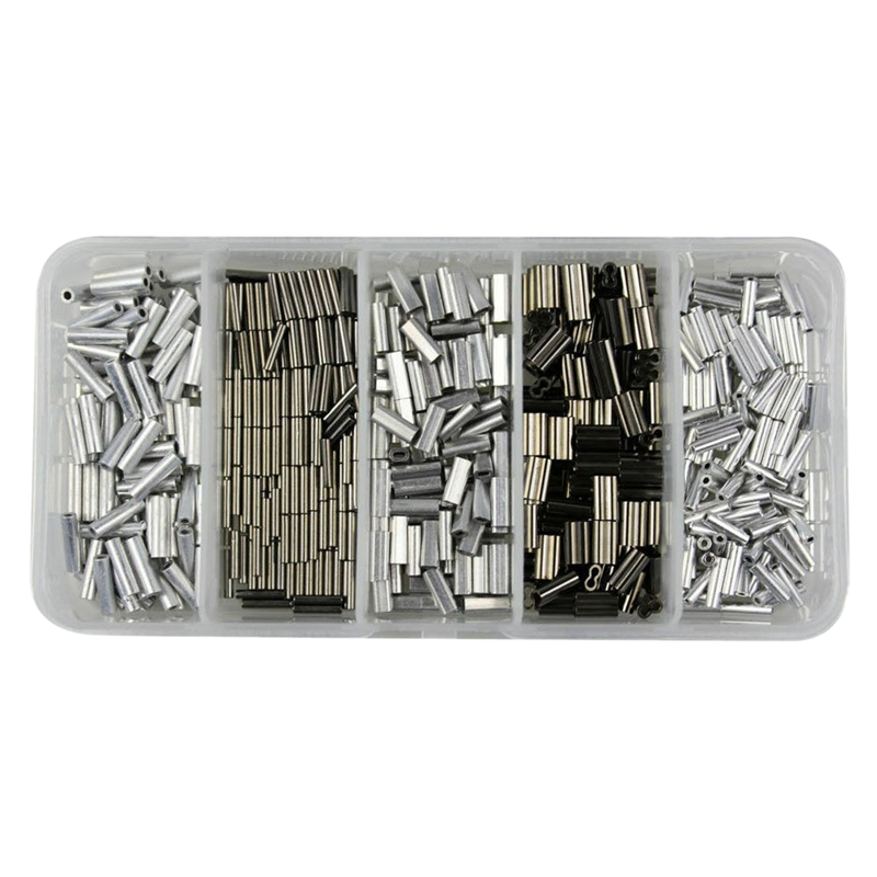 500Pcs Aluminum Crimping Loop Sleeve Double Barrel Ferrule For Fish Wire Rope And Cable Line End Assortment Kit
