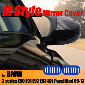 Replacement Pre-facelifted Trim Carbon Fiber Pattern Rearview Mirror Cover Caps M3 Style for BMW E90 E91 E92 E93 LCI image