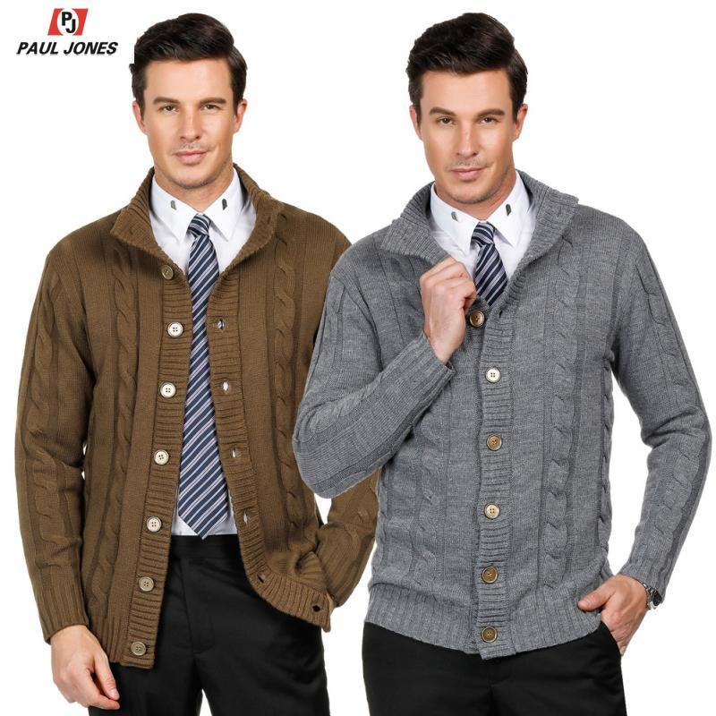 PAUL JONES Mens Stylish Stand Collar Cable Knitted Button Cardigan Sweater
