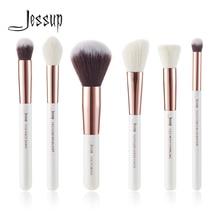 Jessup Juego de pinceles de maquillaje doradas profesional, color blanco perla/rosa, herramientas de belleza
