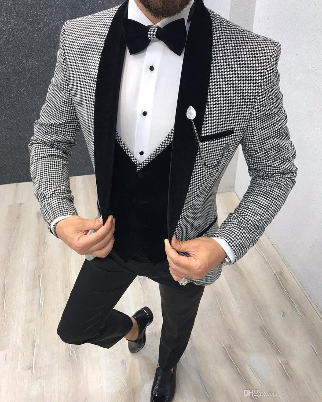 Groomsmen Houndstooth And Black Groom Tuxedos Shawl Lapel Men Suits Wedding Best Man 3 Pieces ( Jacket+Pants+Vest+Tie ) C837