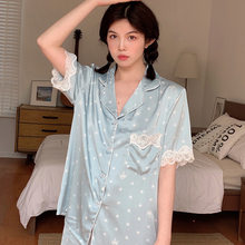 Women's pajamas2021 pajamas women spring and summer new star short-sleeved two-piece suit ice silk pajamas silk home pajamas