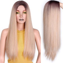 A Wig Nature-Wigs Blonde Mixed-Brown Straight Women Long White/black And for Middle-Part