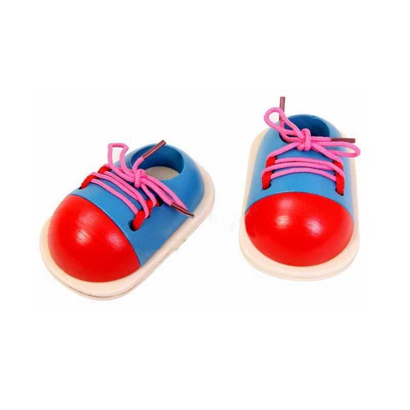 משחק פאזל עץ קשורות נעלי שרוכי ילד צעצוע מונטסורי אופנה עץ חידות שרוכי צעצוע צעצועים חינוכיים לילדים מתנה