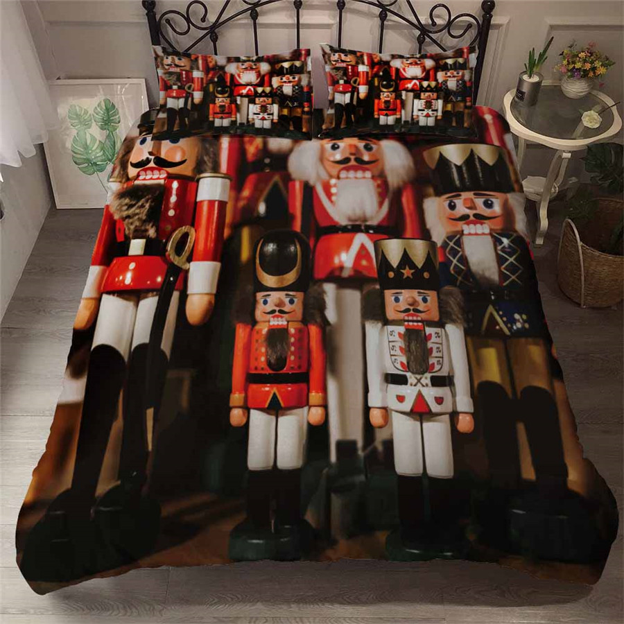 HELENGILI 3D Bedding Set Nutcracker Soldier Print Duvet Cover Set Bedcloth With Pillowcase Bed Set Home Textiles #YC-249