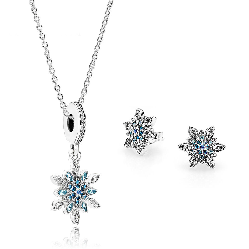 NEW 100% 925 Sterling Silver 1:1 Genuine Glamorous Crystal Snow Ear Studs Pendant Necklace Jewelry Set Original Women Jewelry