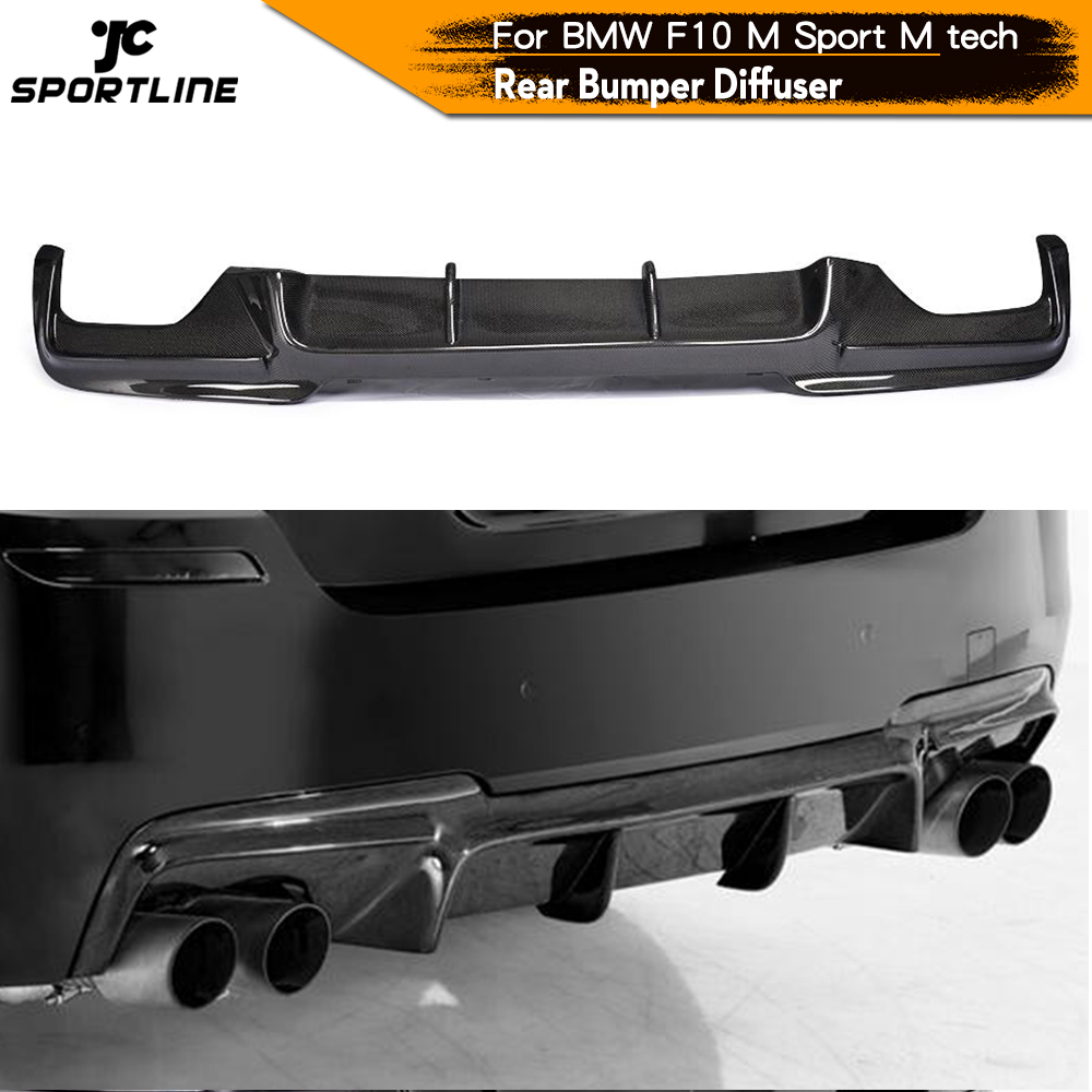 Carbon Fiber / FRP Rear <font><b>Bumper</b></font> Diffuser Lip Spoiler for <font><b>BMW</b></font> 525i 528i 5 Series <font><b>F10</b></font> M Tech M Sport Sedan 2011 - 2016 image