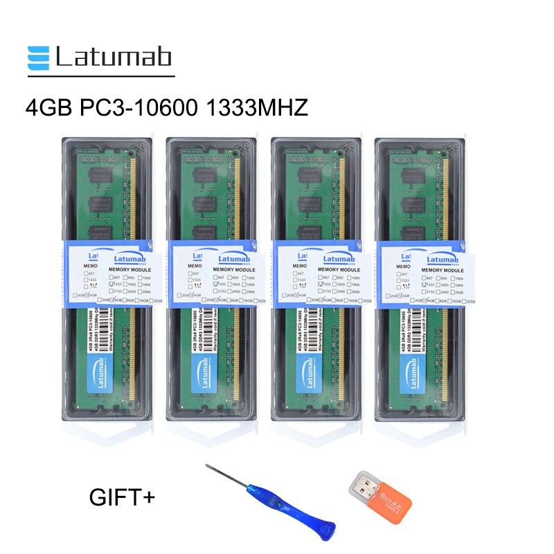 Memória de Desktop Módulo de Memória Latumab 1333mhz Pc3 10600 Dimm Memória Ram 240 Pinos 1.5 v Desktop 4 gb 8 Ddr3