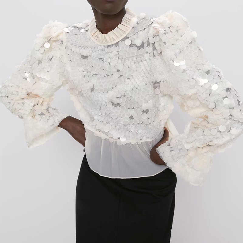 Za sequined ruffled collar blouse 여성 플레어 슬리브 ropa mujer 캐주얼 베이지 셔츠 fashion womens tops and blouses