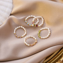 цены Handmade Boho Colorful Crystal Simulated Pearl Rings Gold Color Metal Beads Ring for Women Ladies Wedding Party Jewelry Gift