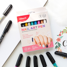 Nail-Marker-Pen Monami Stationery Gift-Supplies Art Draw Non-Permanent 8color Girl H6472