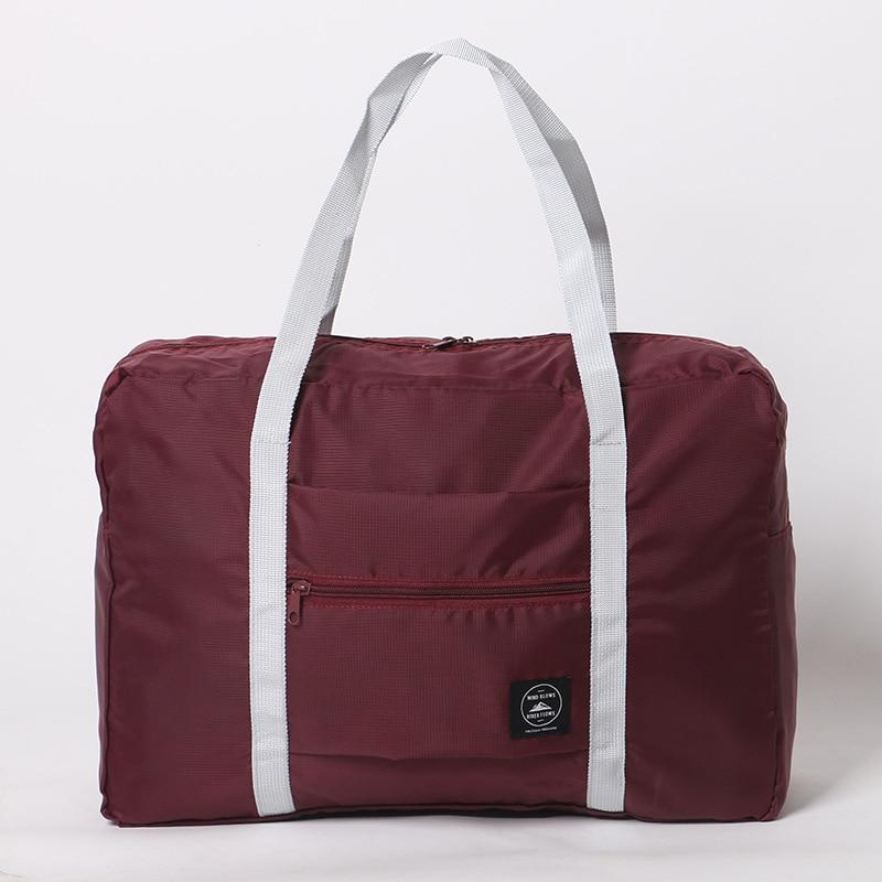 Новинка, нейлоновая складная дорожная сумка унисекс, Большая вместительная сумка для багажа, женские водонепроницаемые сумки, мужские дорожные сумки - Цвет: RedWine