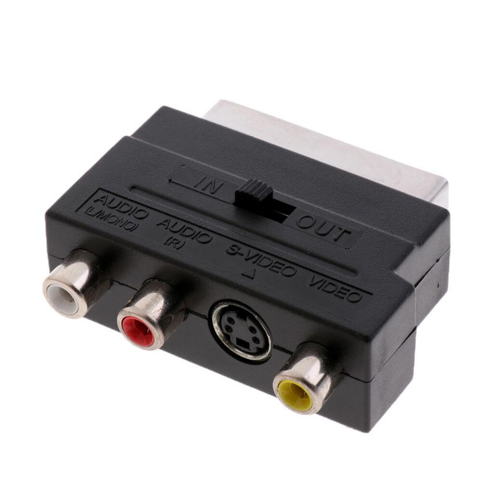 21Pin Scart Adaptor AV Block To 3 RCA Phono Composite S-Video With In/out Switch Scart Adaptor AV Block