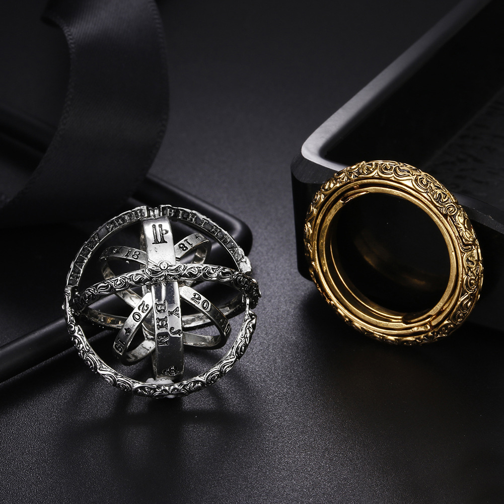 Silver Astronomical Ball Ethnic Vintage Ring Anniversary Creative Finger Ring Men Fashion Jewelry Gifts