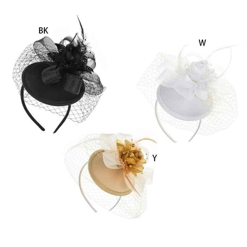 Frauen Fascinator Partei Schleier Feder Haarspange Top Hut Mesh Net Bowknot Hochzeit Haarband Mädchen Haar Zubehör