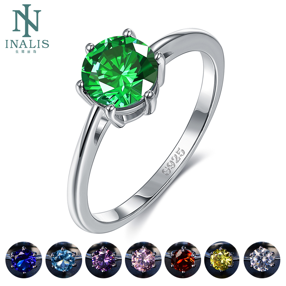 INALIS Natural Emerald Rings for Women 8MM Classic Silver 925 Jewelry Wedding Engagement Ring Gemstone Fine Jewelry Gift 2020