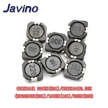 Inducteur de puissance SMD, CDRH104R, 10uH, 22uH, 33uH, 220 330, 331, 10*10*4mm, inducteur de bobinage blindé, 5 pièces/lot