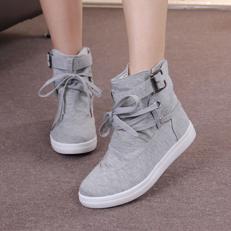 Wertzk Shoes Woman Flats Ankle-Boots Canvas Grey Black Casual Autumn HOT And Solid S008 title=