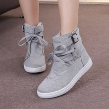 Wertzk 2018 HOT Autumn Women Boots Casual Canvas Shoes Woman Flats Solid Ankle