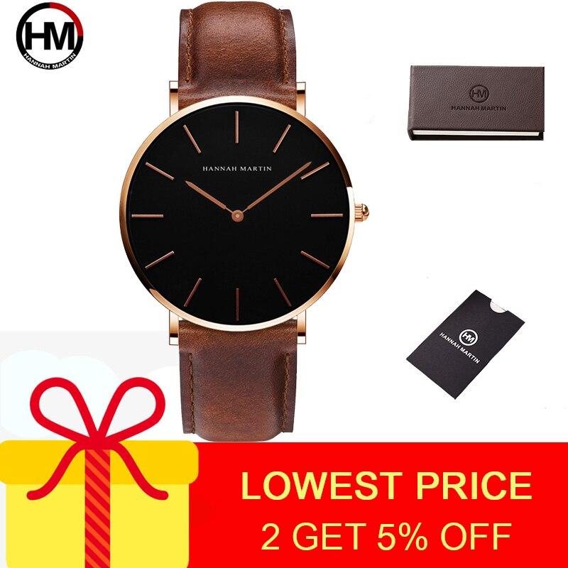 Hannah Martin Men's Watch Sports Watches Male Mans Quartz Watch Hot Sale Big Casual Black Watch Men Waterproof Wrist Watches