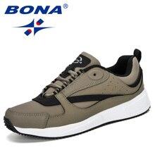 BONA 2019 yeni tasarımcılar popüler koşu ayakkabıları erkekler hafif nefes Sneakers erkek spor açık koşu Sneakers erkek rahat