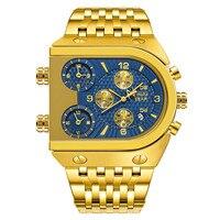 2010 relógios masculinos de quartzo marca superior luxo relógio dourado 3 fuso horário data cinta aço inoxidável militar oversize relógio pulso