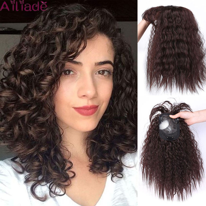 AILIADE Women's Top Piece Closure Toupees Curly Synthetic Hand-made Hair Topper Hairpiece Clip In Hair Extensions Black Brown