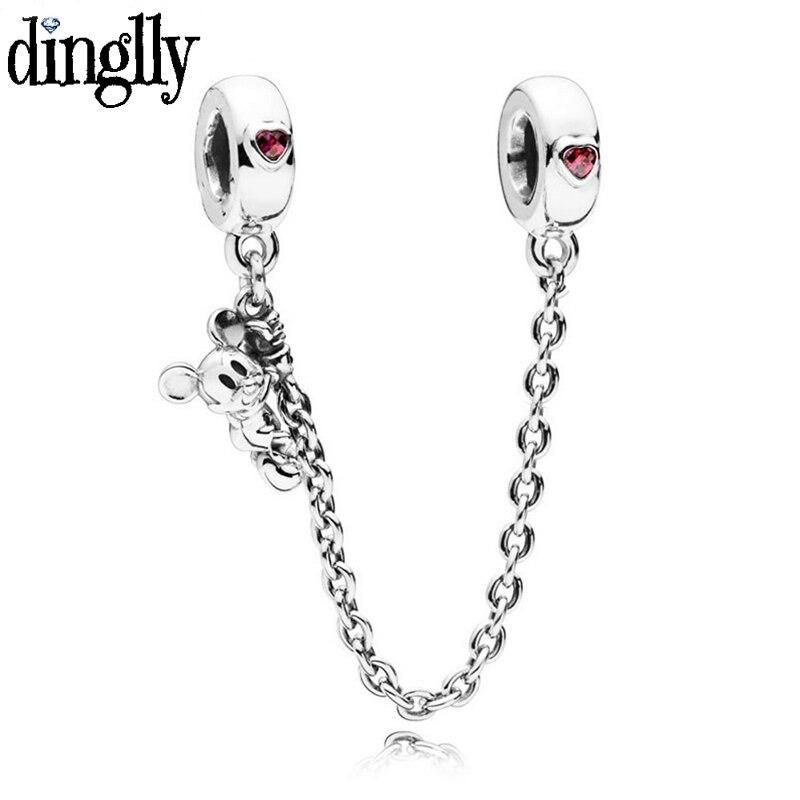 DINGLLY Safety Chain Fit Diy Original Boy Girl Brands Charm Bracelets Bangles For Women Men Kids Jewelry Bracelet Gifts(China)