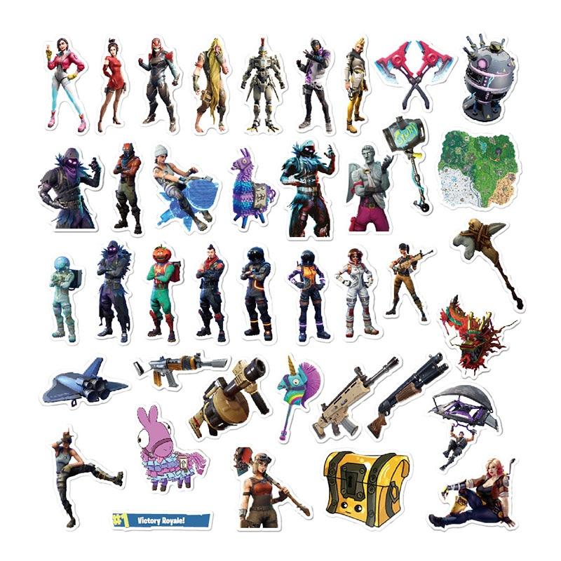 40 шт./компл. Водонепроницаемая наклейка Fortnite, модель игровой фигурки, многофункциональные наклейки, Детские Рождественские подарки с сюрпр...