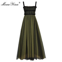 MoaaYina Fashion Designer Runway Dress Summer Women Beaded Spaghetti strap Backless Mesh Dress