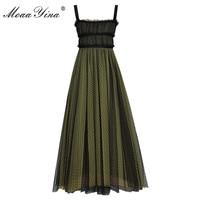 MoaaYina Fashion Designer Runway Dress Summer Women Beaded Spaghetti strap Backless Mesh Dress