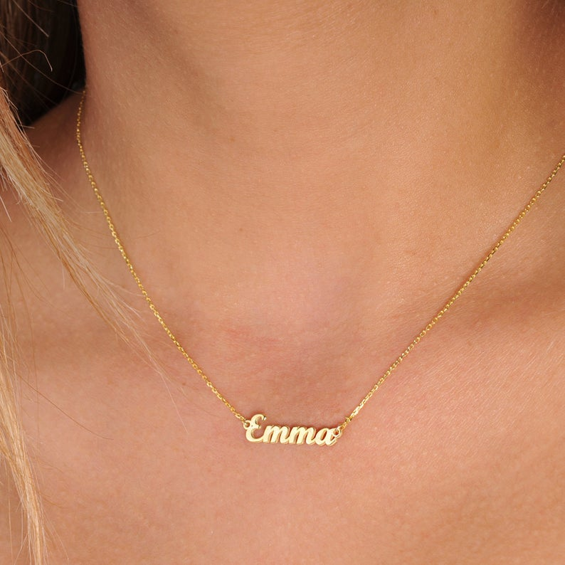 Emma Necklace Custom Gift Name Customized Stainless Steel Pendant Necklace Birthday Gift Christmas Gift For Mom