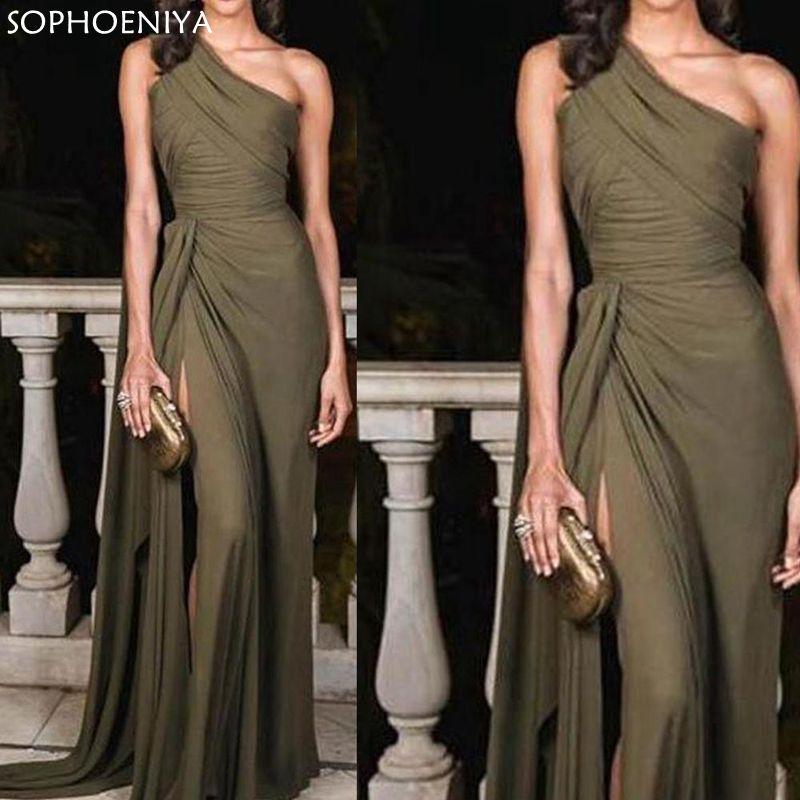New Arrival Robe de soiree One Shoulder Evening Dress 2020 Sexy Chiffon Cheap Evening Gown Dress women Sukienki