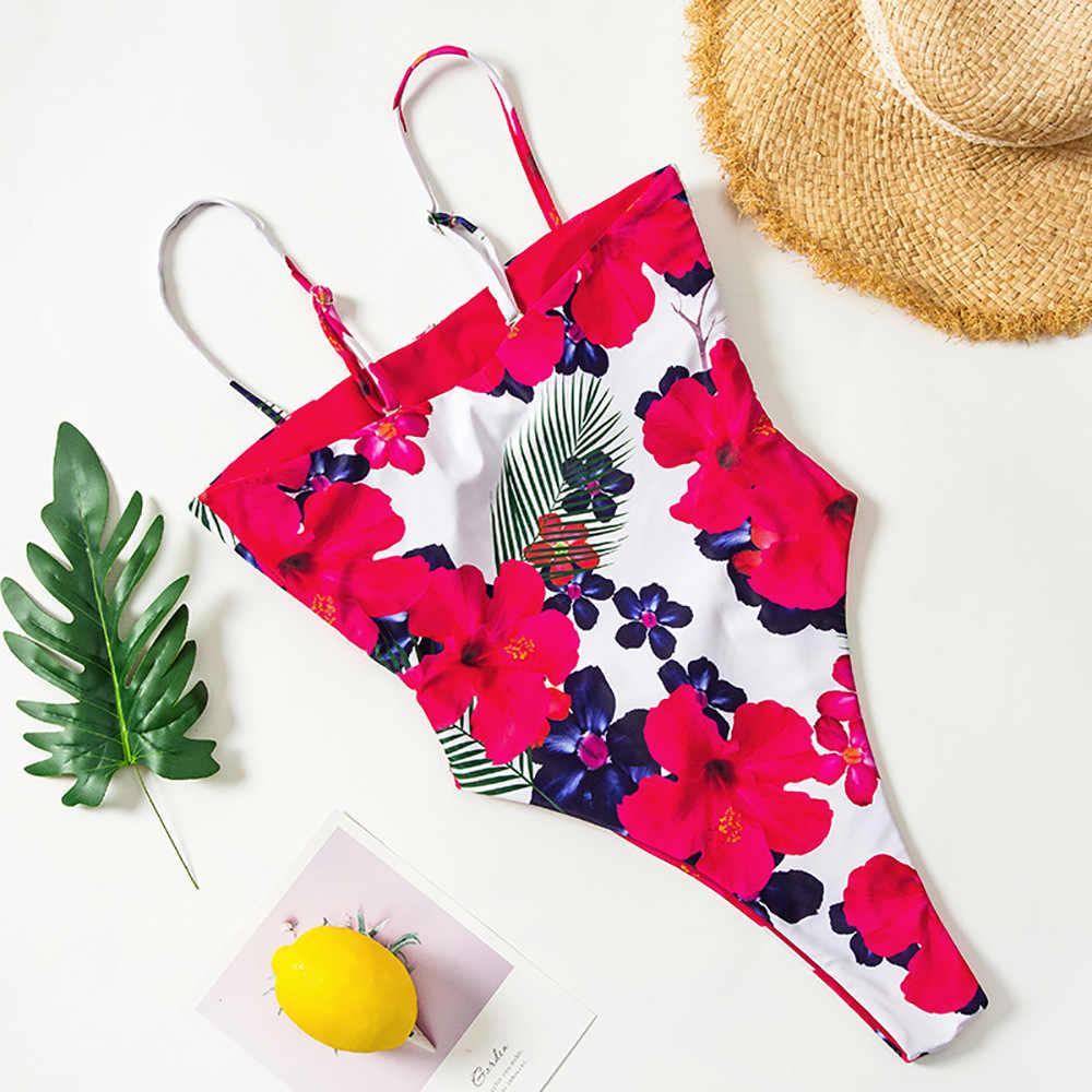 Сексуальный купальник с завязками на шее, с бантом спереди, с высоким вырезом, женский купальник с цветочным принтом, с открытой спиной, бандаж, с вырезами, Цельный купальник, пляжный купальный костюм, бикини