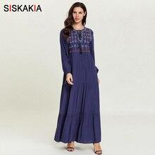 Siskakia Autumn Dresses Brief Ethnic Embroidery Long Dress Casual Muslim