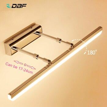 [DBF] Comprimento Ajustável 40cm 50cm 9W AC85-265V 12W Aço Inoxidável LEVOU Espelho de Luz Moderna luzes Do Banheiro Lâmpada de parede Arandela