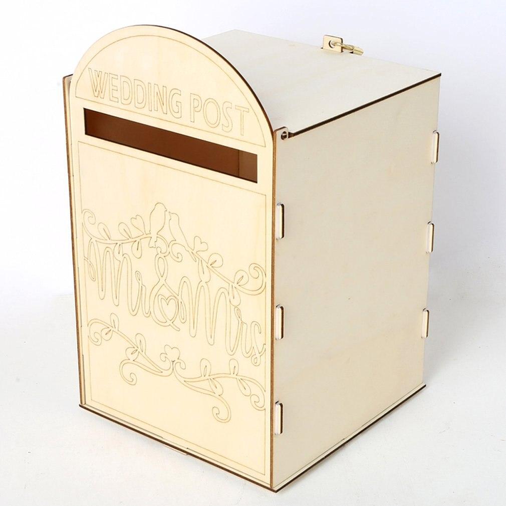 Suministros de boda de madera buzón de correo Royal Post estilo decoración de madera boda creativa caja de cartas artesanías Decoración