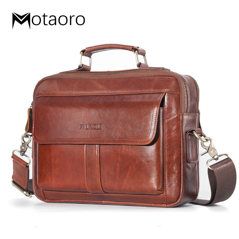 Qaulity Male Briefcase Genuine Leather Messenger Bag For Men Business Bag Vintage Designer Handbag Laptop Briefcase Bolso Hombre
