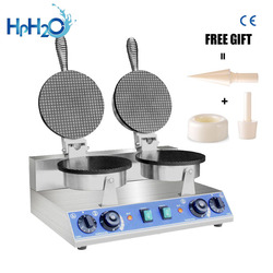 Commercial electric ice cream cone maker Non-stick waffle cone machine snack waffle iron cone maker double head cake oven