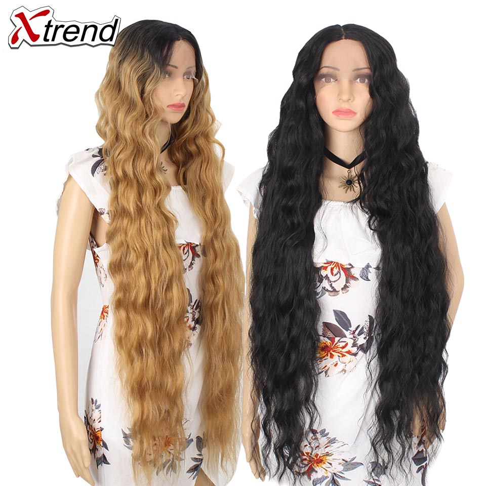Xtrend Wig Hair-Curly Afro Middle-Part Cosplay Brown Lace-Front Black Synthetic Long title=