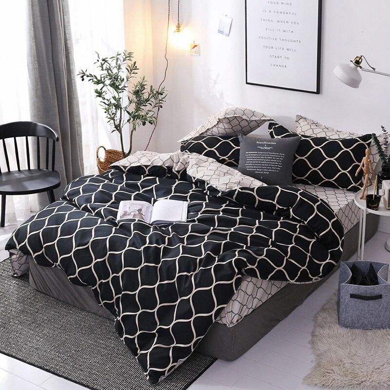 Luxury Bedding Set Super Large Duvet Cover 3Pcs Large Black Quilt Bed Linen Brushed Home Quilt Cover 175 X 220cm