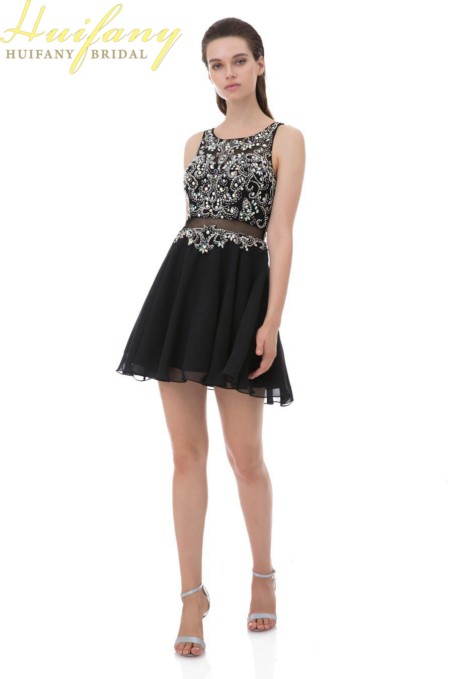 Short Scoop Beaded A-line Homecoming Dress Mini Illusion Party Outfits Sleeveless Ball Gown Rhinestone Chiffon Cocktail Dresses