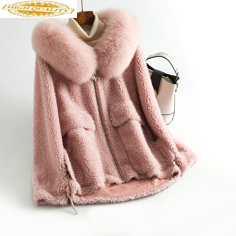 Real Fur Coat Female Fox Fur Collar 100% Wool Coats Winter Coat Women Clothes 2019 Lamb Fur Jacket Korean Outwear MY4327