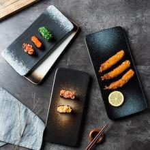 Japanese sushi plate ceramic creative rectangular dish snacks snack plate personality retro tableware set plate