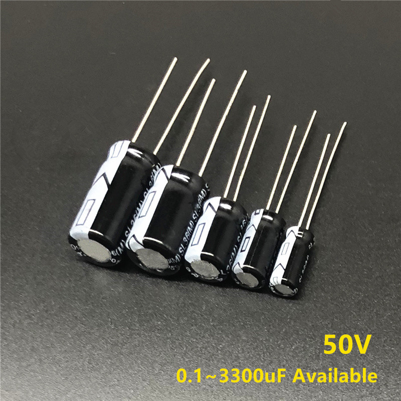 50V 0.1/0.22/0.47/1/3.3/4.7/10/22/33/47/68/100/120/180/220/270/330/390/470/680/820/1000/1800/2200/3300uF Electrolytic Capacitor
